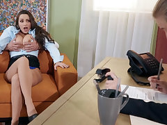 Hairy pussy brunette fucks a guy during a job interview
