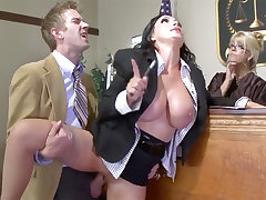 Busty lawyer beauty gets her pussy plowed in court