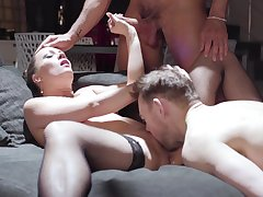 Wife gets shared by horny men in rough threesome