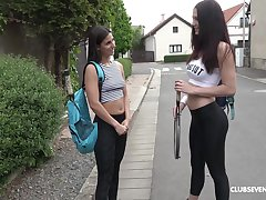 Alfresco lesbian pussy toy play with Gia Mulino and Angela Allison