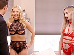 Rick clothes-horse bangs two bodacious blond babes in dispirited lingerie and stockings