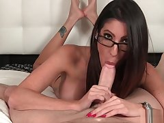 Hottie With Glasses Sucks Penis in Pov