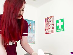 Red haired super nurse in uniform Jaye Rose sucks and jerks off hard penis