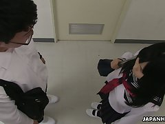 Spoiled regardless how shy expecting Asian gal Sayaka Aishiro gives a proper blowjob