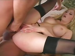 Big breasted babe Michelle Barrett on all occasions insists on some rough DP treatment