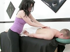 Lustful masseuse gives a massage and rides a cock after dewy cock riding session