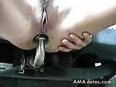 Italian girl fucks motor vehicle hook