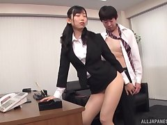 Sweet Asian Kurokawa Sumire pleses hard boss's penis in his office