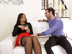 Slutty nextdoor ebony tolerant Adriana Maya seduces white married man