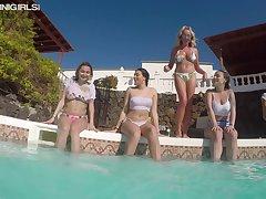 Just real bikini girl Hanna T and her Mr Big friends near hammer away pool