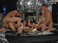 Bitches love swapping their partners in a wild foursome