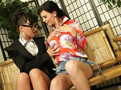 Erotic lesbians in clothing bringing off with a vibrator - Timea Bella
