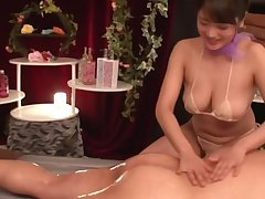 Japanese chick Suhara Nozomi fucked from underwrite fro cum on tits
