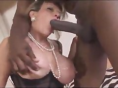 Wild busty housewife with huge arse with an increment of big tits works on chubby BBC