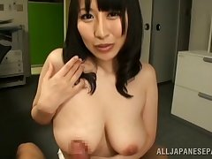 Ravishing Asian office lady gives a tit fuck in pov clip