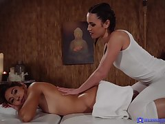 Alyssa Reece and Melody couldn't stymie from making love with each other, in a massage room