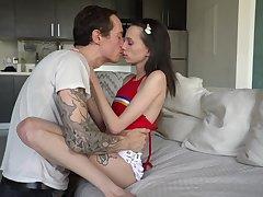 Undernourished teen Aria Haze enjoys a gargantuan thick phallus of tattooed fellow Owen Gray