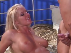Erotic MMF trio ends with as often as not of cum for Audrey Hollander