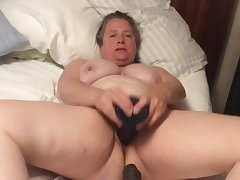BBW mom up hairy pussy takes BBC dildo up foreskin