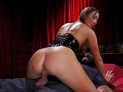 Asian mistress Christy Love dominates a slave with an increment of then fucks him out of reach of top