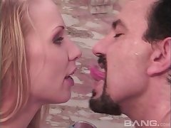 Wife Illona fucked in mouth, pussy together with a tught asshole by her man